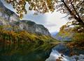 "autumn view of lake ""Leopoldsteiner"" in Styria /Austria"
