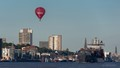 Hot air balloon over the Port of Hamburg, Germany