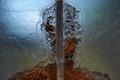 Close up detail of a glass sculpture created by the artist Bertil Vallien, Kosta Boda, Sweden.