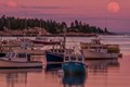 It was an incredible sunset behind me but the full moon rising over Stonington Harbor was just as beautiful!