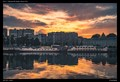 Sunset over the river Meuse in Liege, Belgium.