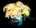 LIGHT FLOWERS, BLUE VASE