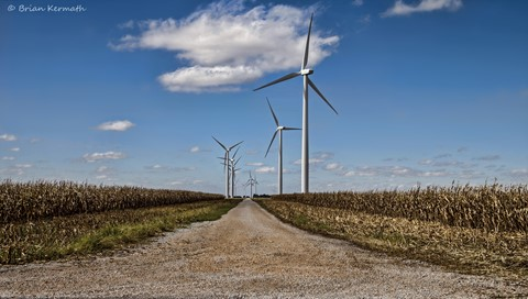 Wind turbines on the Meadow Lake Wind Farm along Interstate 65