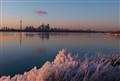 Frozen twilight. Toronto, Ontario Canada.