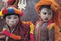 Colourfully decorated Hindu actor children