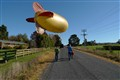 Just taking the blimp for a walk