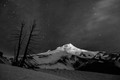 Mt Hood Night in Black and White