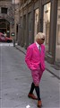 a man on pink