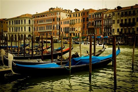 Gondolas on the Grand Canal, Venice