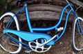 distorted blue bike