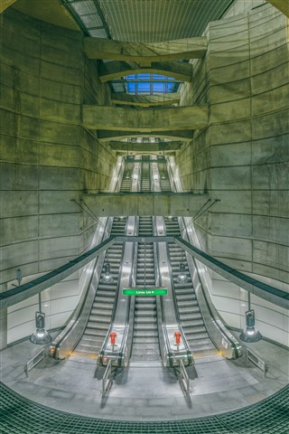 Subway Station Escalator Panorama (Autopano Giga)