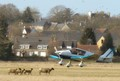 landing aircraft on the grass where sheep are eating