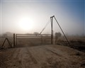 Oil Field Service Gate 13A in Morning Fog
