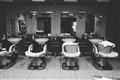 A Japanese barber shop at night