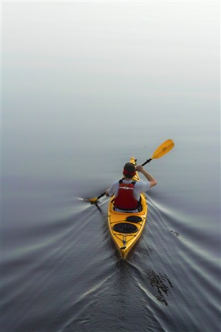 Lonely Kayak Paddling out-near TR Island