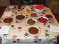 Lentil soup with all trimmings (anchovies, green beans, tomato-olives salad, watermelon....)