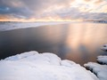 Calm sea and ice in Porkkala, southern Finland. Long exposure.