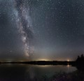 Milky Way and Moonset over Lake Bellaire