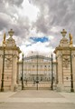 Gates at the Royal Palace in Madrid taken as storm clouds are coming in fast.