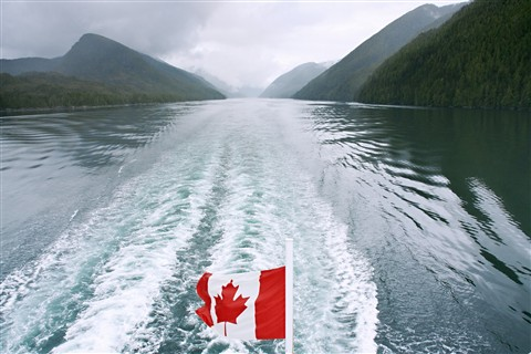 Canada flag on the inside passage_3561