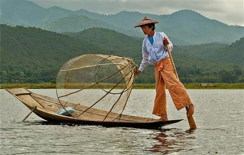 Burmese Fisherman on Lake Inle
