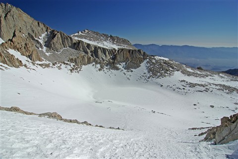 Looking back down on Iceberg Lake from the Mountaineers Route, Mt Whitney