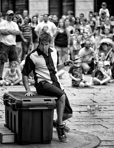 Boston Street Juggler snapped with Nippon Kogaku 85mm f-2 lens
