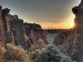 sunset in the badlands