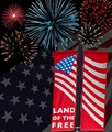 Layered several shots of 4th of July fireworks I took with a Panasonic G3, American flag - Pan G3, and street banner in Lafayette, CA taken with Olympus PenF which is what I filled in for camera, lens and settings.