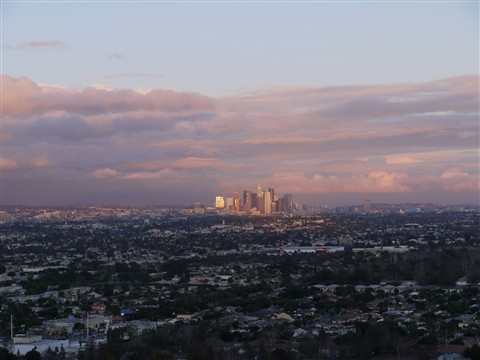 Downtown Los Angeles after Rain at sunset