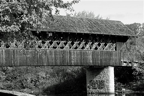 b&w covered bridge