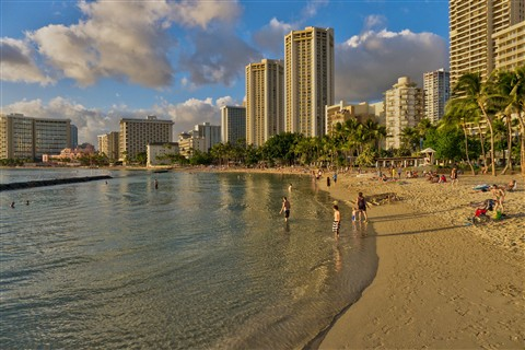 Waikiki Beach at Sunset-2-HDR