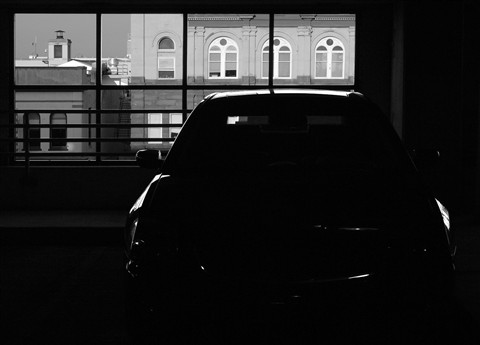 Car in parking deck 2 small B&W