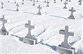 Crosses in snow, De Pere, Wisconsin