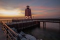 Charlevoix Lighthouse just after sunset on a summer evening.
