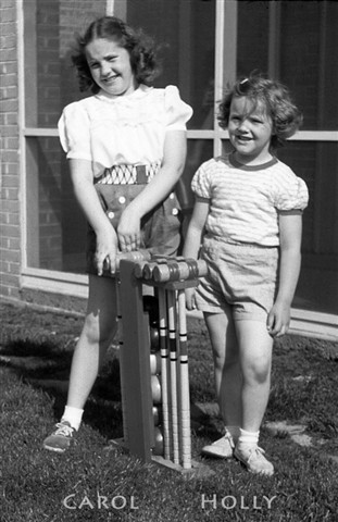 Holly & Carol with Croquet Set in 1950