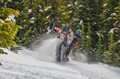 Action shot of snowmobiling at Fernie, BC