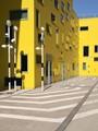 Yellow building, with random windows