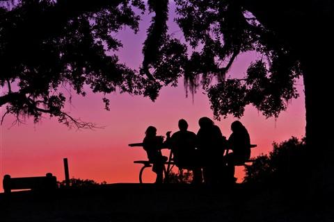 Family eating dinner at sunset-2583