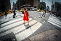 Woman In Red Dress Crossing NY Street