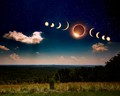 Composite of an eclipsed afternoon, totality 99.8%