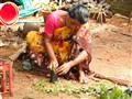 Indian woman potting plants
