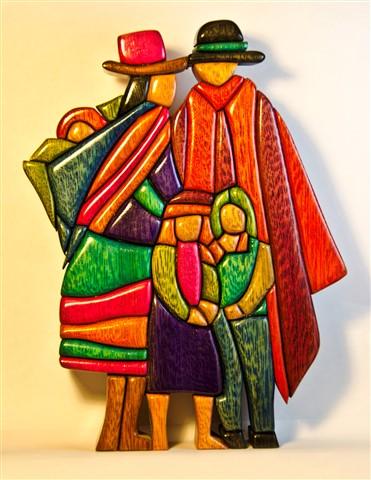 Andina family peru wooden mosaic art made by woodflair - Imagenes para cuadros decorativos ...