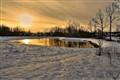 Sunset Snow Pond