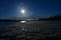 Ice flow under The Carl D. Perkins Bridge