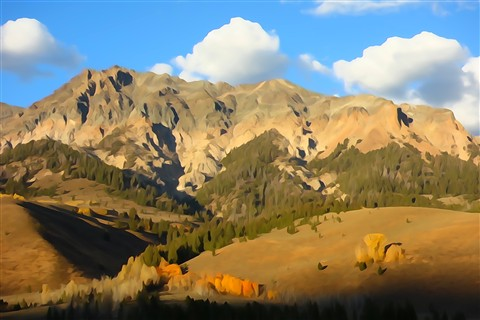 Sawtooth Mountains in Fall Sony RX100 Watercolor effect DSC00210