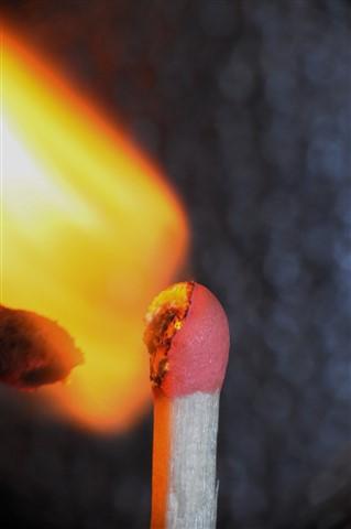 Matchstick combustion.