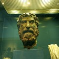 Found, 100 years ago,  near the Antikythera island of Greece, in a depth  of 100 meters Brass Head. National Museum, Athens Greece.