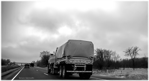 Oshkosh Corp military truck on Interstate 39