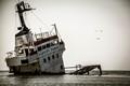 Decaying shipwreck off the coast of Sulina, in the Danube Delta of Romania